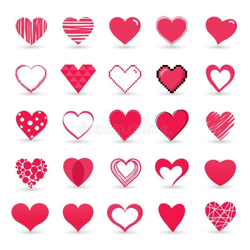 Sistema del icono de la tarjeta del día de San Valentín del corazón stock de ilustración