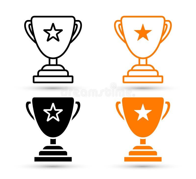Sistema del icono de la taza del trofeo del ganador libre illustration