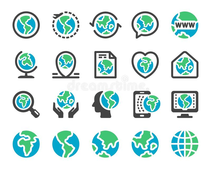 Sistema del icono de la tierra y del globo stock de ilustración