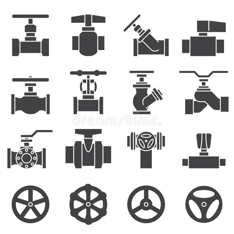 Sistema del icono de la válvula y de los golpecitos ilustración del vector