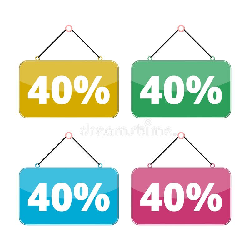 sistema del icono de la venta del 40 por ciento, descuento el 40% libre illustration