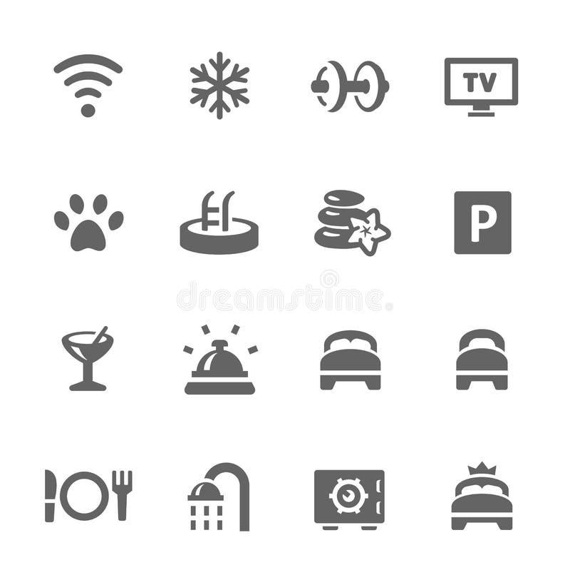 Sistema del icono de las características del hotel stock de ilustración