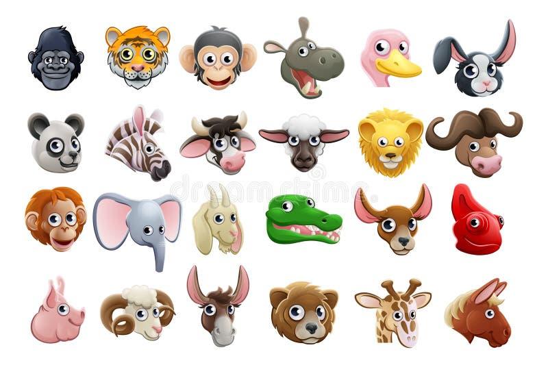 Sistema del icono de las caras del animal de la historieta stock de ilustración