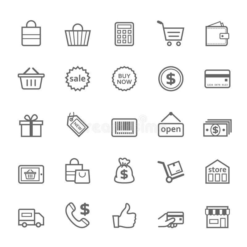 Sistema del icono de las compras del movimiento del esquema ilustración del vector