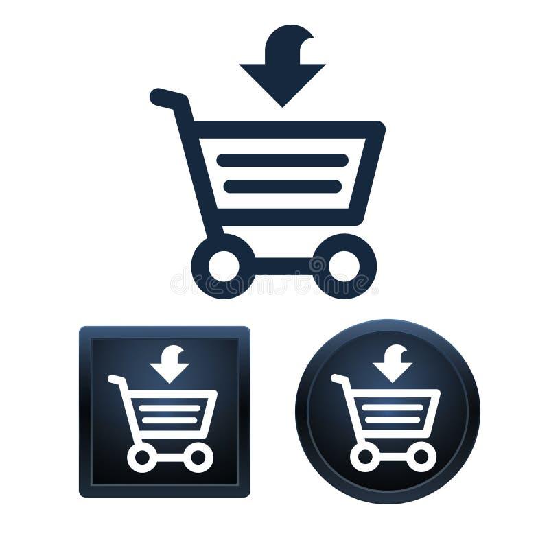 Sistema del icono de las compras, ejemplos aislados del vector ilustración del vector