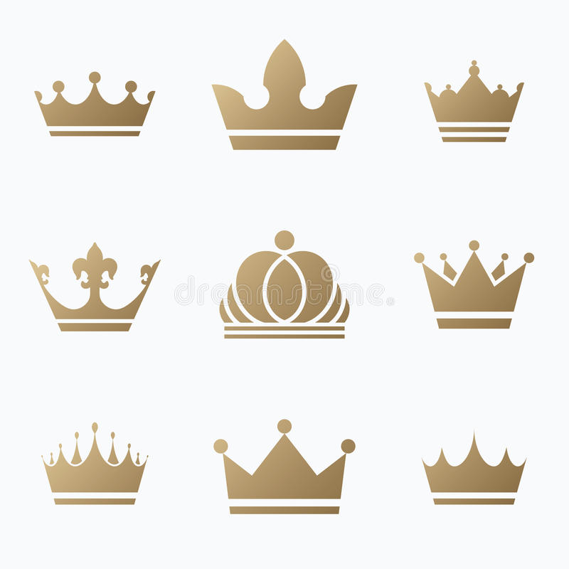Sistema del icono de las coronas Ilustración EPS 10 del vector stock de ilustración