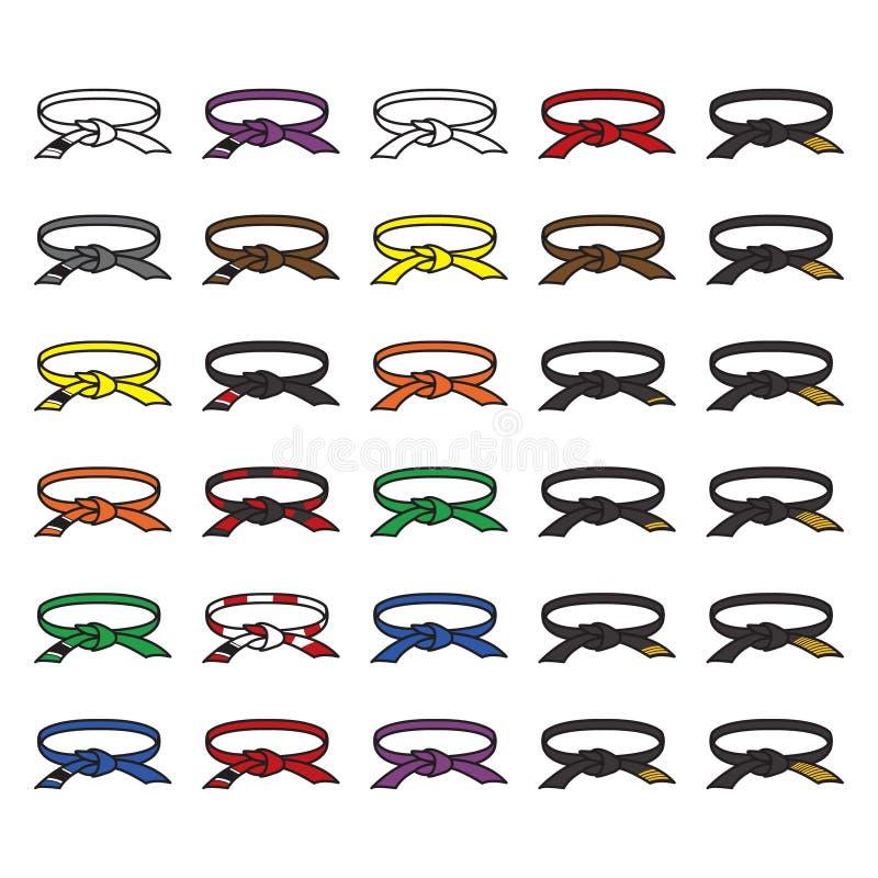 Sistema del icono de las correas de los artes marciales Karate, judo, jitsu brasileño del jiu y otros Vector libre illustration