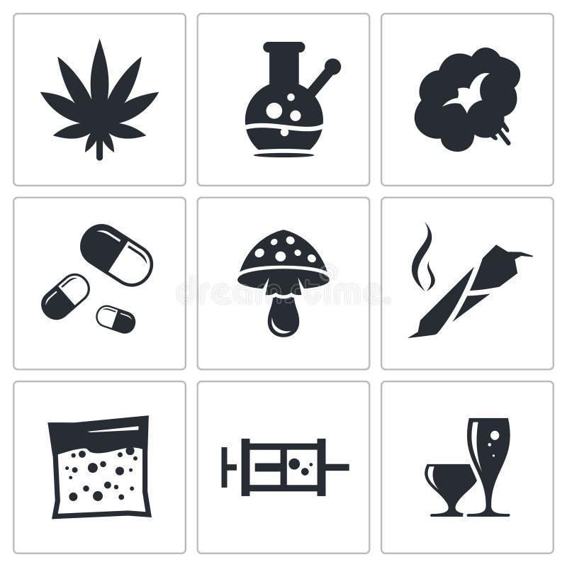 Sistema del icono de las drogas stock de ilustración