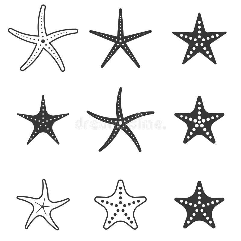 Sistema del icono de las estrellas de mar ilustración del vector