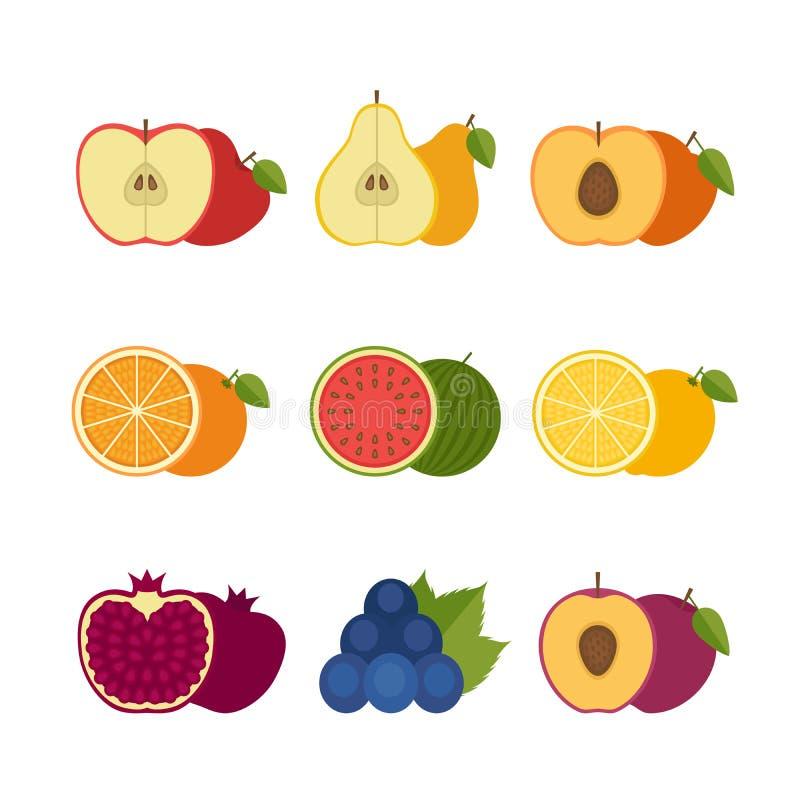 Sistema del icono de las frutas r stock de ilustración