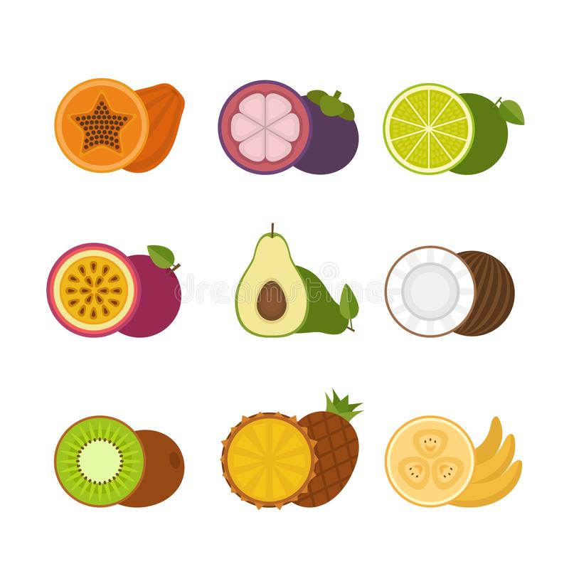 Sistema del icono de las frutas tropicales r libre illustration