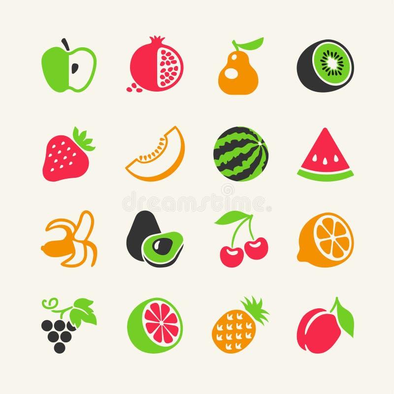 Sistema del icono de las frutas y de las bayas ilustración del vector