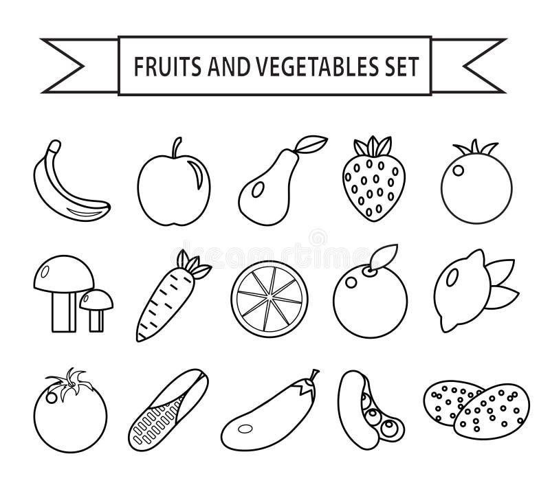 Sistema del icono de las frutas y verduras, línea estilo Frutas y verduras fijadas aisladas en un fondo blanco Outli de las fruta ilustración del vector
