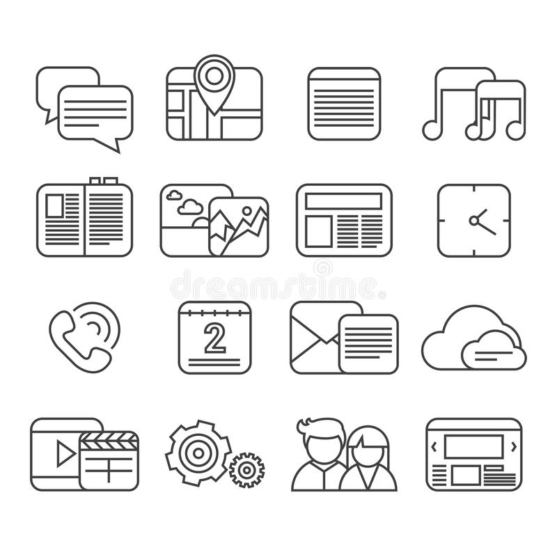 Download Sistema Del Icono De Las Funciones Del Teléfono Ilustración del Vector - Ilustración de información, reloj: 41901024