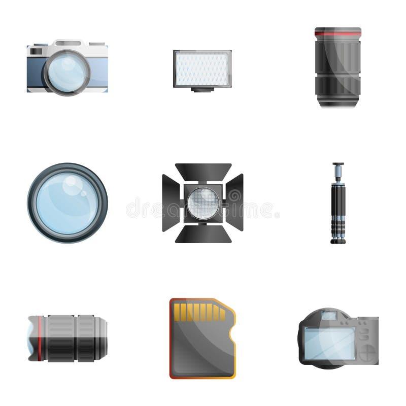 Sistema del icono de las herramientas del fotógrafo, estilo de la historieta ilustración del vector