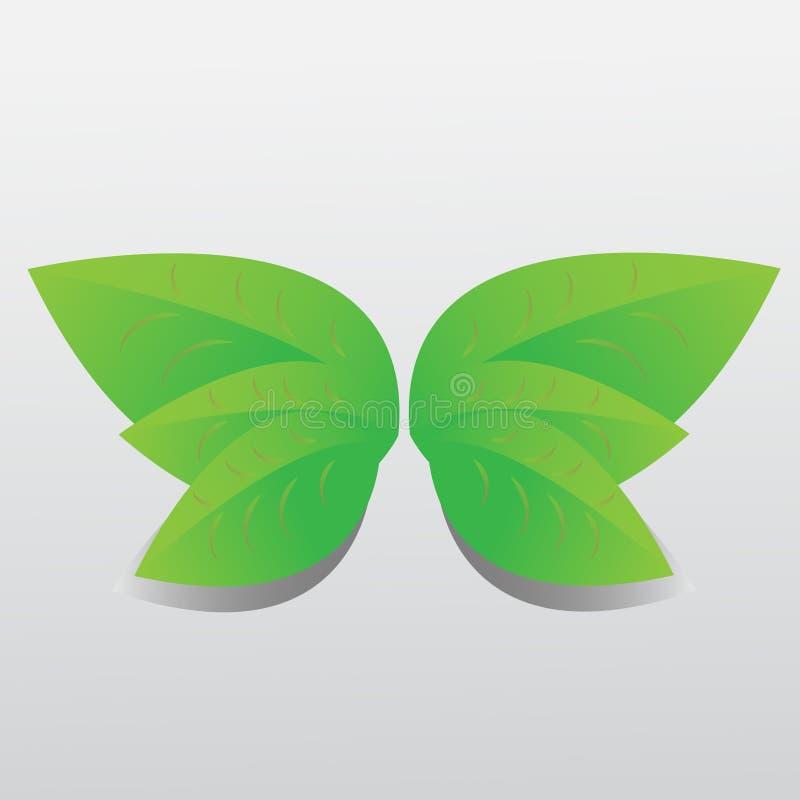 Sistema del icono de las hojas aislado en el fondo blanco Diversas formas de hojas verdes de árboles y de plantas Elementos para  stock de ilustración
