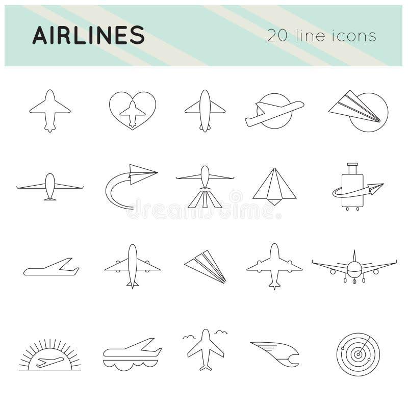 Sistema del icono de las líneas aéreas libre illustration