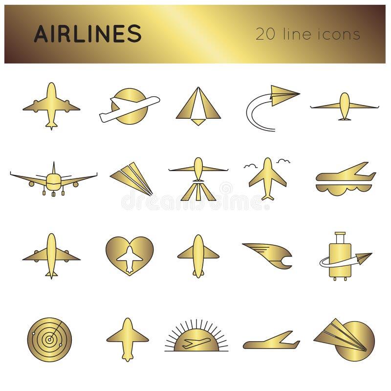 Sistema del icono de las líneas aéreas stock de ilustración