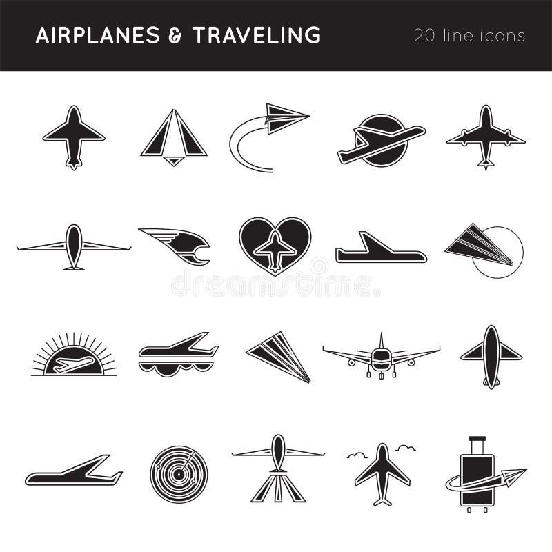 Sistema del icono de las líneas aéreas ilustración del vector