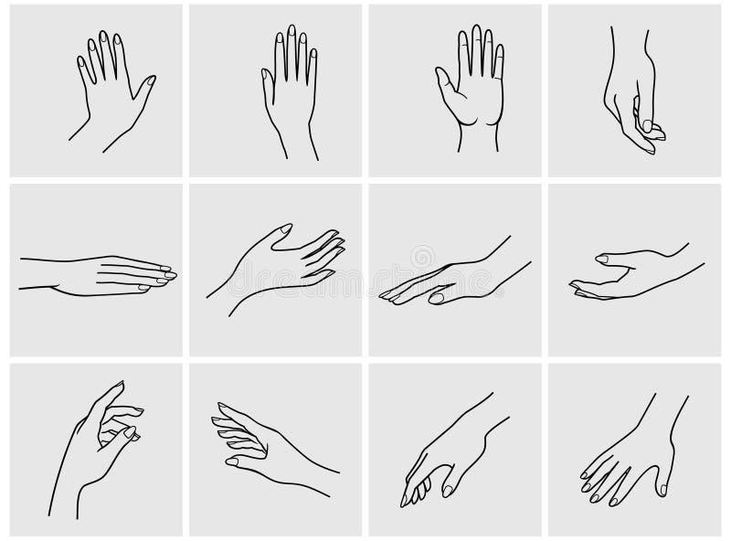 Sistema del icono de las manos ilustración del vector