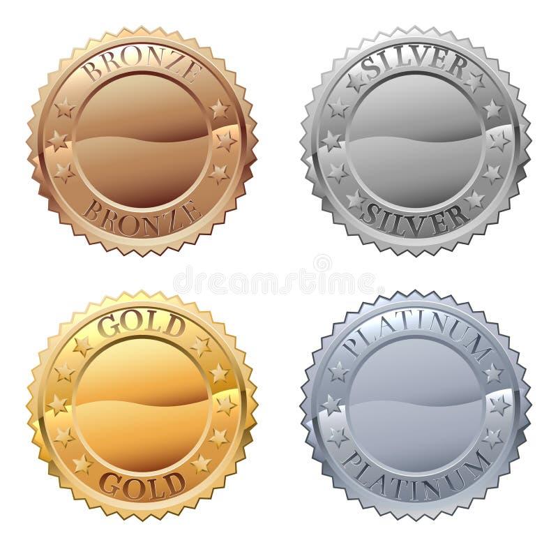 Sistema del icono de las medallas stock de ilustración