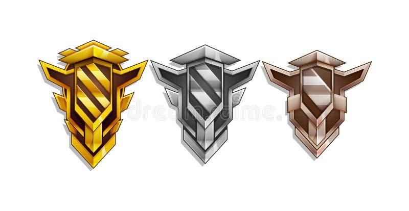 Sistema del icono de las recompensas para el interfaz del juego Decoración del logro de la historieta para el juego: oro, plata,  ilustración del vector