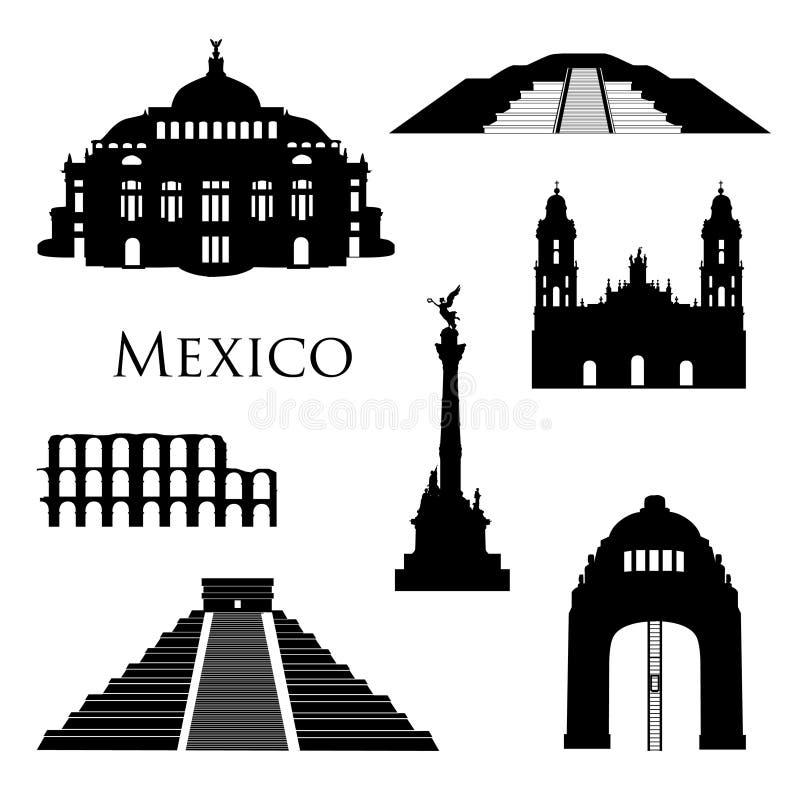 Sistema del icono de las señales de Ciudad de México Muestras famosas del viaje de los edificios stock de ilustración