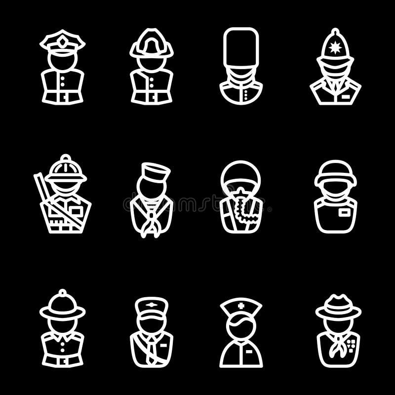 Sistema del icono de las siluetas del ser humano stock de ilustración