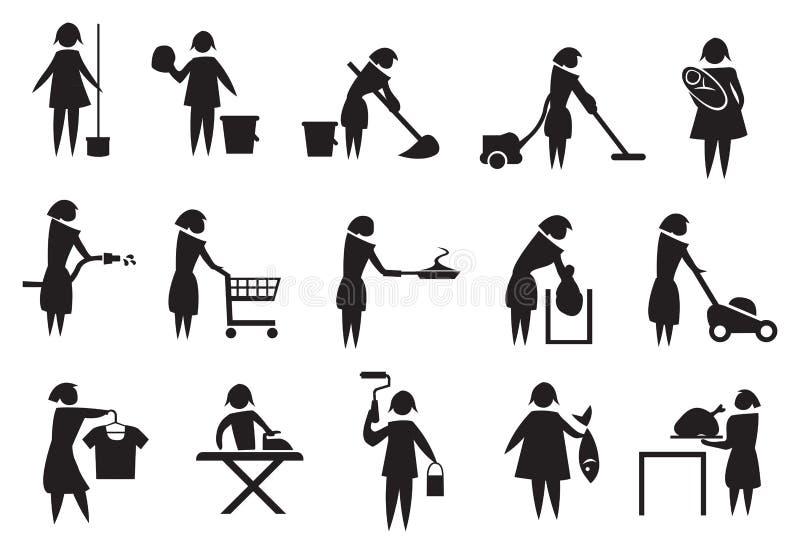 Sistema del icono de las tareas del ama de casa y de hogar stock de ilustración