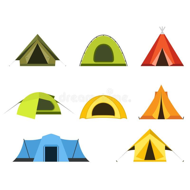 Sistema del icono de las tiendas de campaña - sitio para acampar y turismo ilustración del vector
