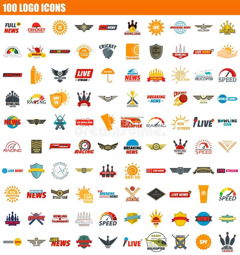 sistema del icono de 100 logotipos, estilo plano ilustración del vector