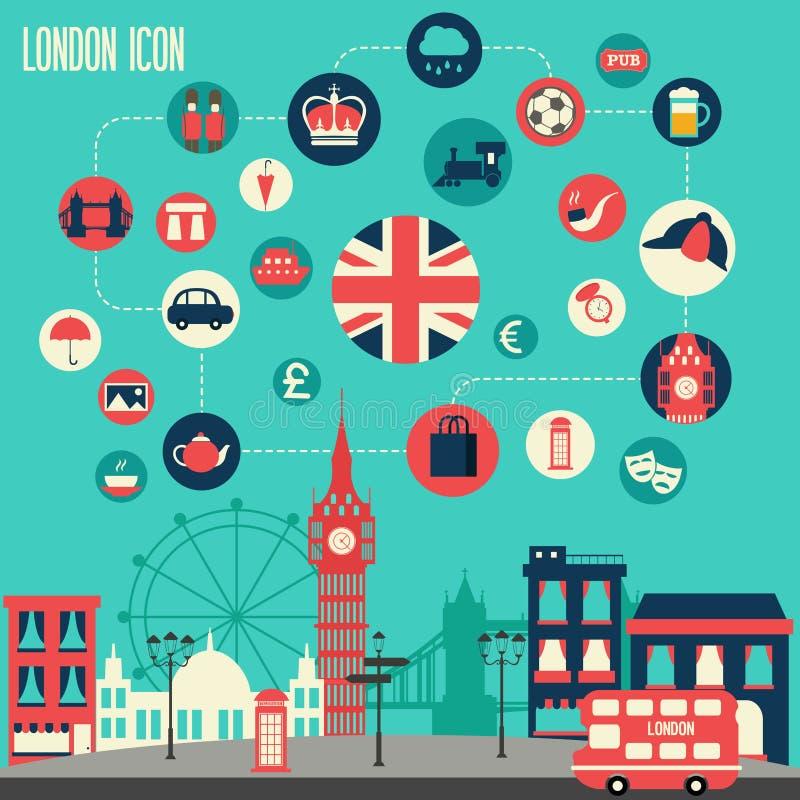 Sistema del icono de Londres stock de ilustración