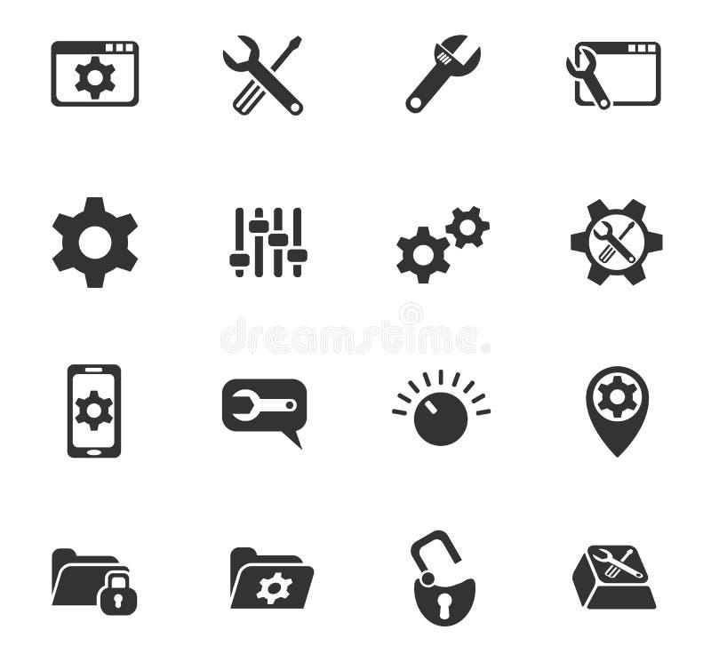 Sistema del icono de los ajustes stock de ilustración