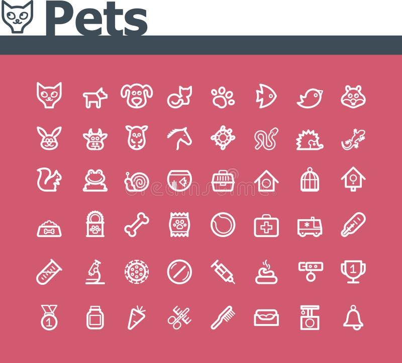 Sistema del icono de los animales domésticos ilustración del vector