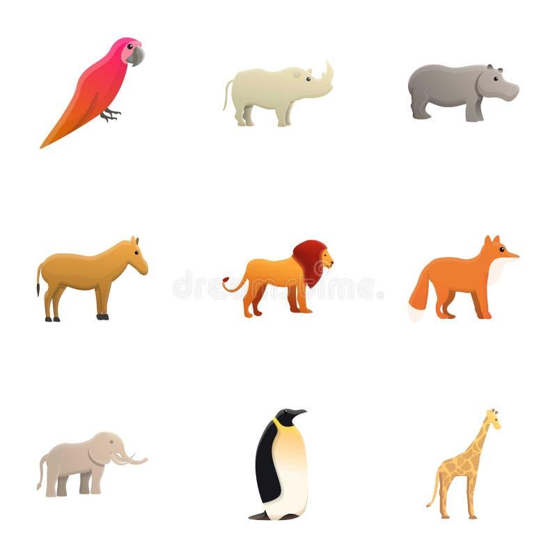 Sistema del icono de los animales del parque zoológico de la ciudad, estilo de la historieta ilustración del vector