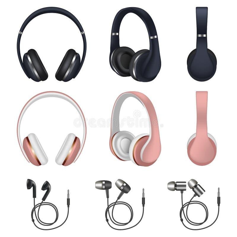 Sistema del icono de los auriculares, estilo realista ilustración del vector