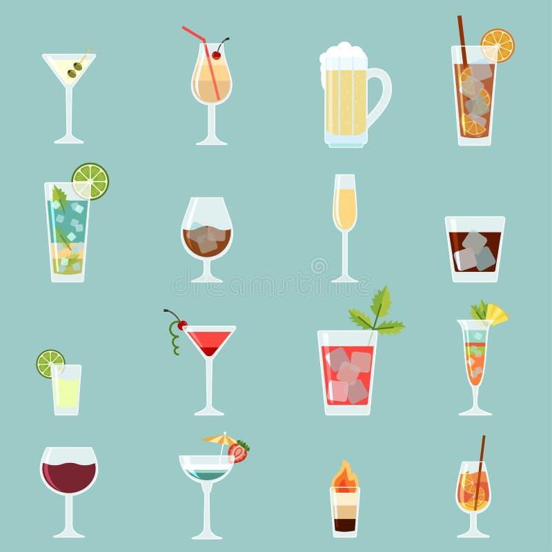 Sistema del icono de los cócteles stock de ilustración