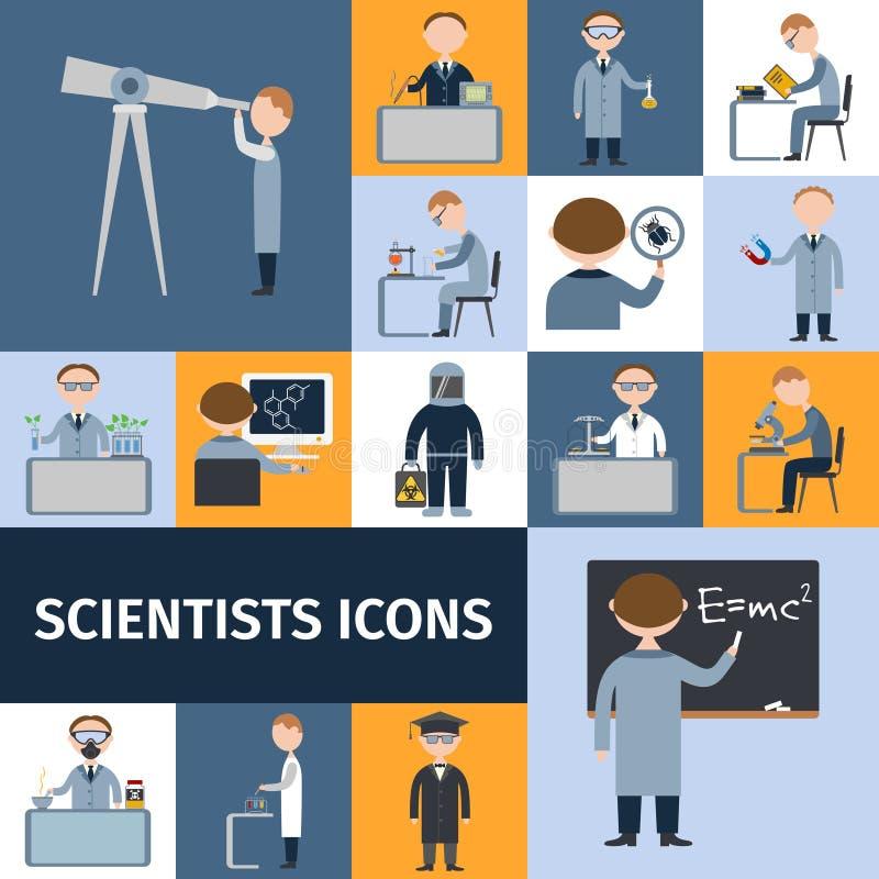 Sistema del icono de los científicos stock de ilustración