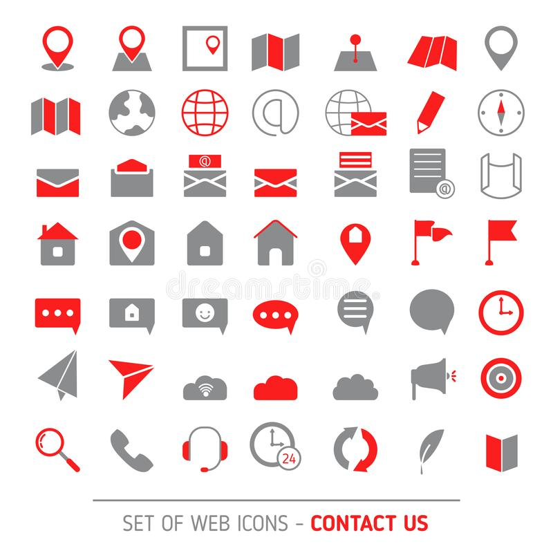 Sistema del icono de los contactos ilustración del vector