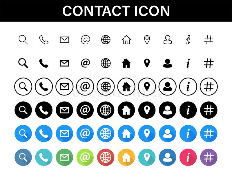 Sistema del icono de los contactos Medios de la colección o símbolos sociales de la comunicación Contacto, email, teléfono móvil, stock de ilustración
