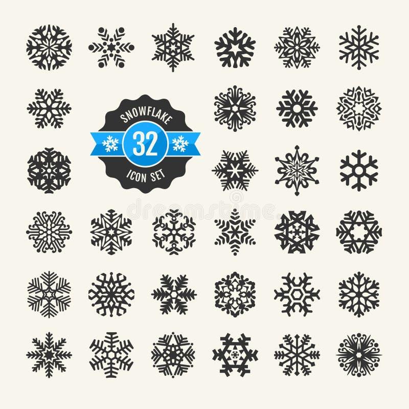 Sistema del icono de los copos de nieve ilustración del vector