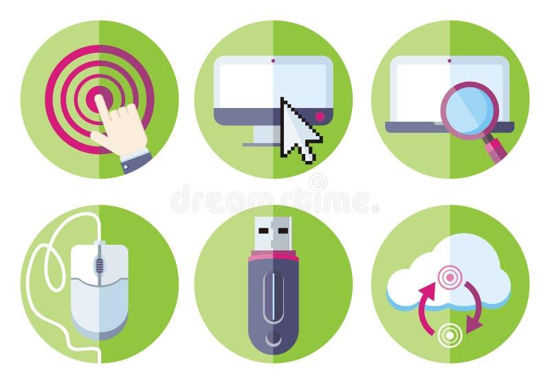 Sistema del icono de los dispositivos del recurso de información stock de ilustración