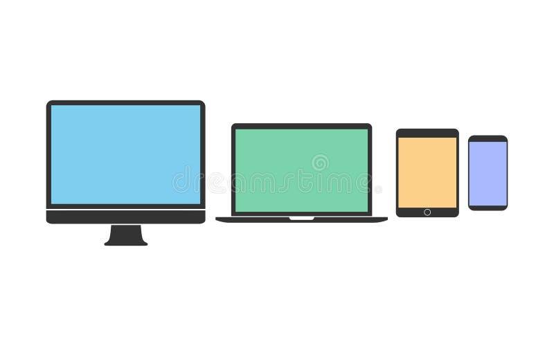 Sistema del icono de los dispositivos electr?nicos Ejemplo del vector, dise?o plano stock de ilustración