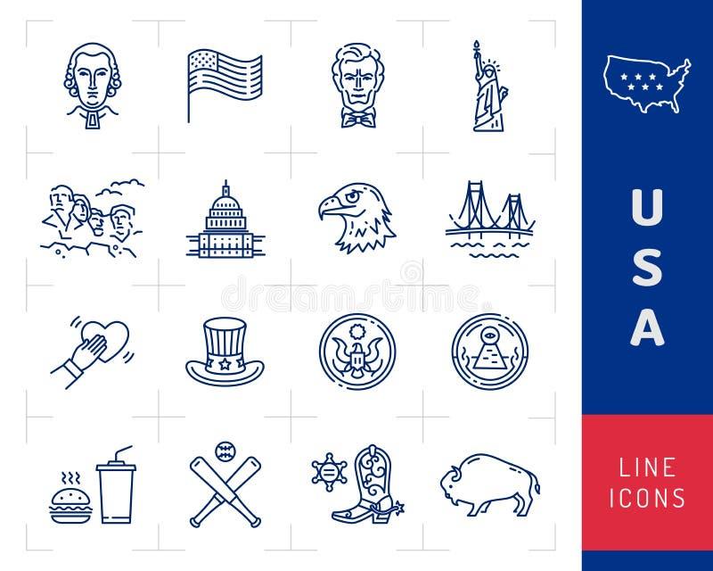 Sistema del icono de los E.E.U.U., iconos de la cultura americana Bandera de los E.E.U.U., presidentes americanos, sombrero del t ilustración del vector