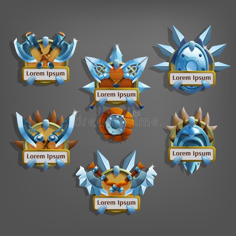 Sistema del icono de los escudos de armas para el interfaz del juego ilustración del vector