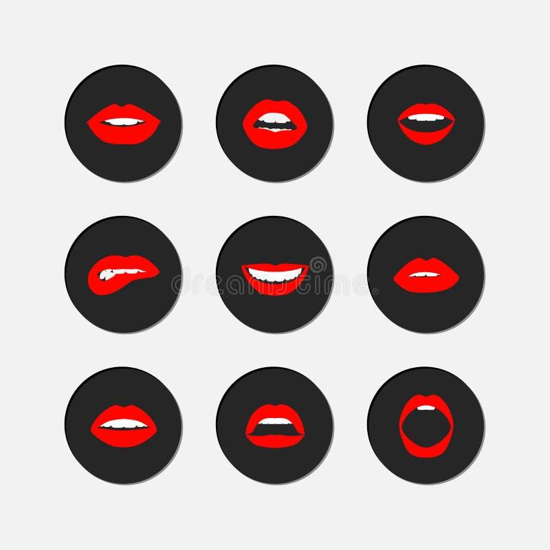 Sistema del icono de los gestos del labio de la mujer libre illustration