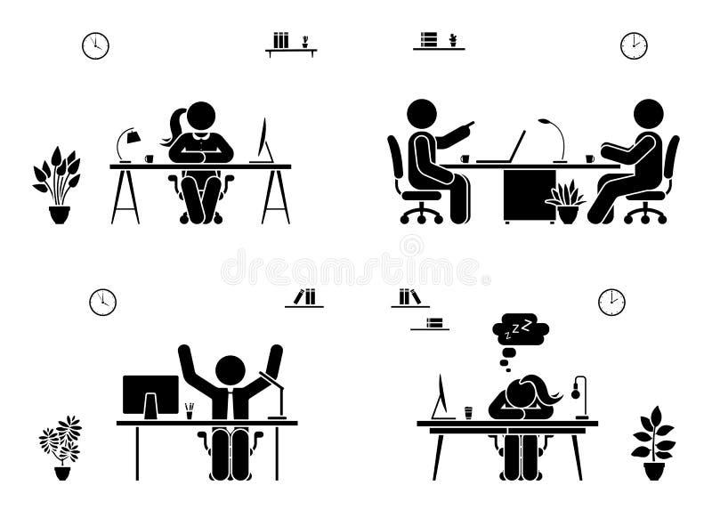 Sistema del icono de los hombres de negocios de la reunión de la oficina Feliz, cansado, hablando, figura pictograma del palillo  ilustración del vector