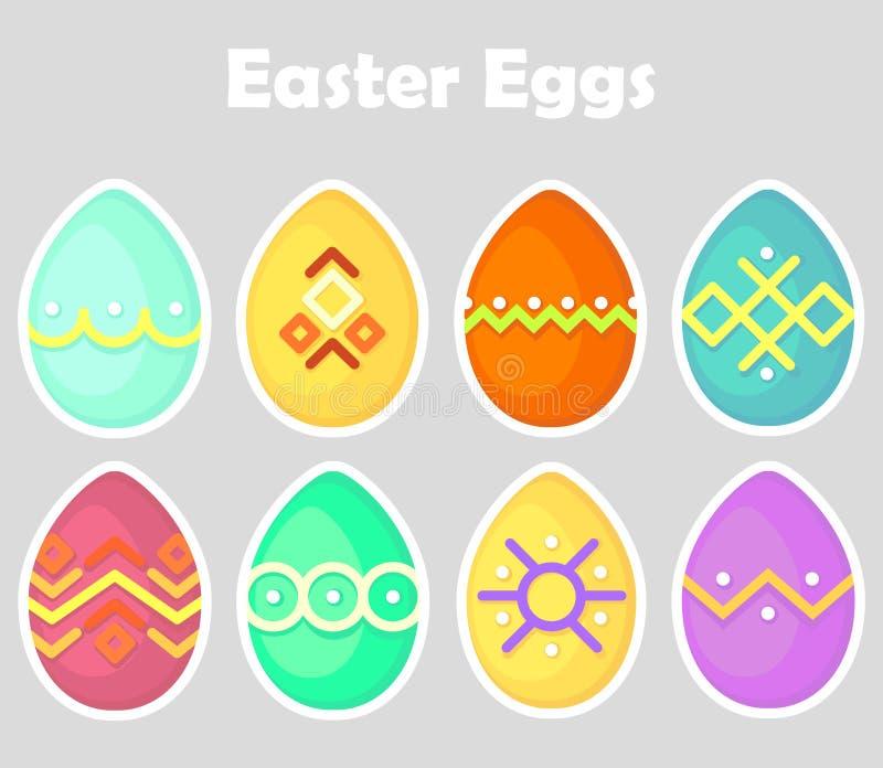 Sistema del icono de los huevos de Pascua, coloreado, óvalo, brillante con un esquema blanco aislado en un fondo gris libre illustration