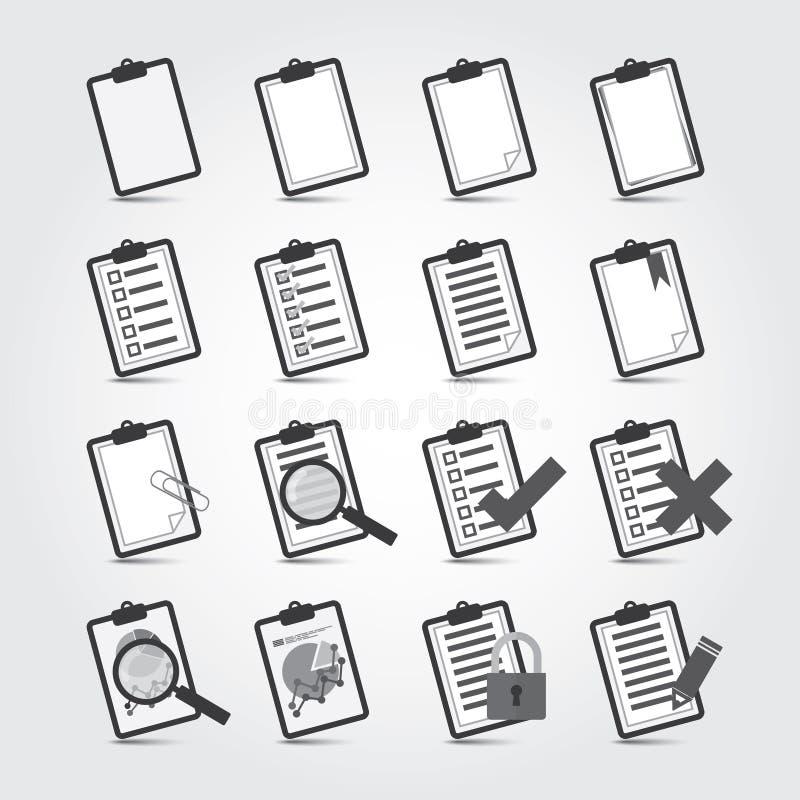 Sistema del icono de los informes stock de ilustración