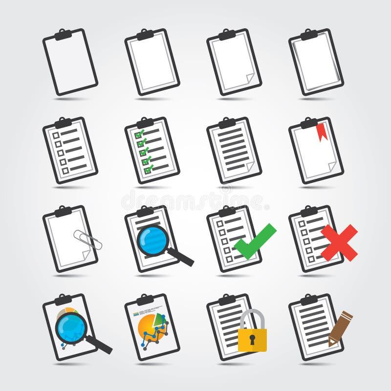 Sistema del icono de los informes ilustración del vector